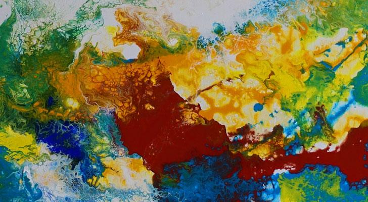 Ursprung abstrakte Kunst Malerei blau gelb Wandbild Leinwandbild abstrakt Acryl