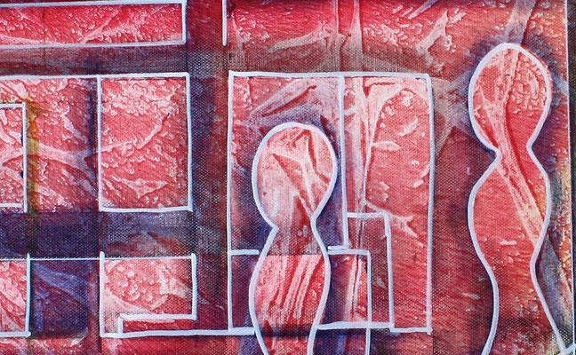 Planeten Wanderung rot gelb blau - abstraktes Gemaelde Bild - Kunst online
