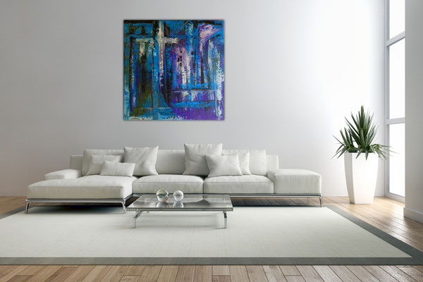 Abstraktes Kreuz blau türkis lila Acrylbild Bild Malerei Original Gemälde