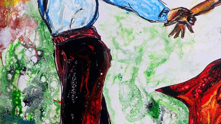 Salsa 21-1 Wandbild Tänzer Tanzbild Tanzpaar Modernes Leinwandbild