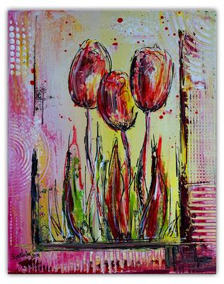 3 Tulpen hangemalt Blumen Malerei Acryl Wandbild Blumenbild Gemälde 40x50