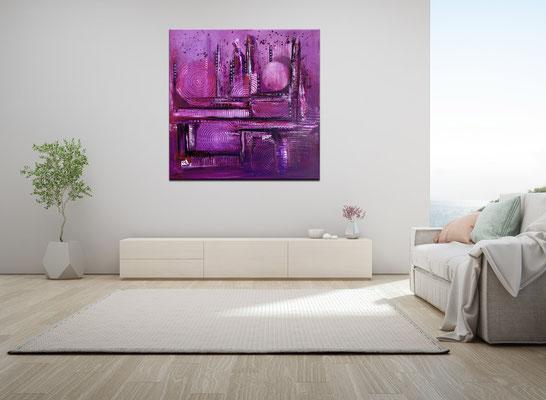 Lila City abstrakte Malerei Wandbild Acrylbild Moderne Kunst Original Gemälde 80x80 21-02