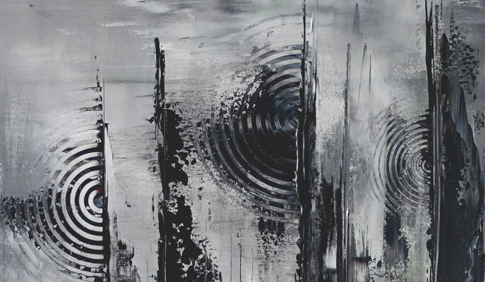 Mystic schwarz grau abstraktes Wandbild Leinwandbild Gemälde