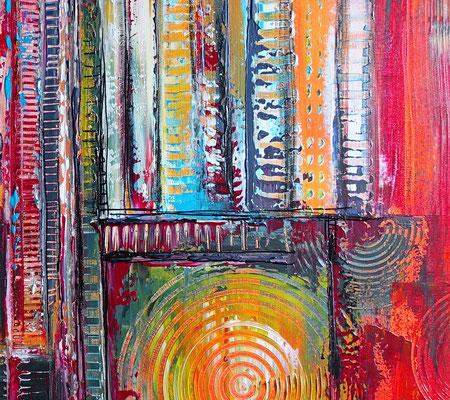 Wein Stillleben Weinflasche Gläser abstrakt Acryl Gemälde Leinwandbild Küchenbild