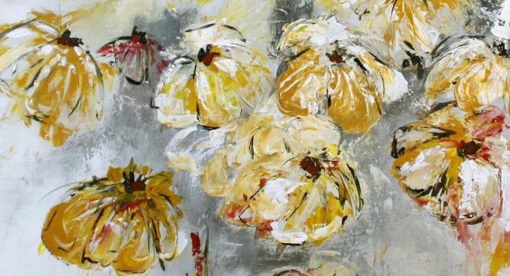 Blumenbild zweiteilig abstrakt xxl grau rot gelb Blumen Gemälde - Detail 2