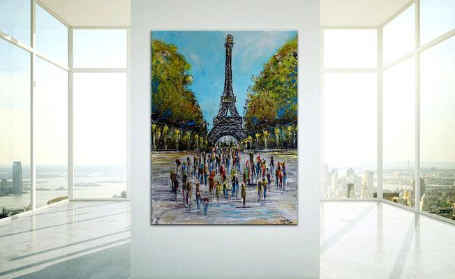 Paris Eiffelturm Malerei Kunst Bild Wandbild handgemalt Acrylgemälde