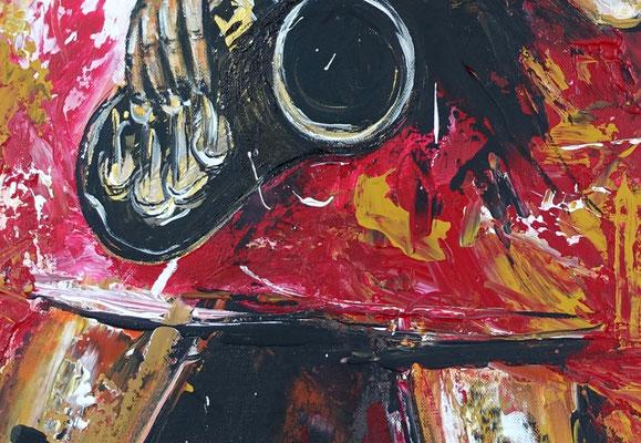 Saxophonistin hochformat Musiker Gemälde Saxophon gemalt Leinwandbild