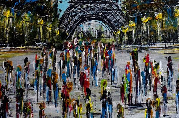 Paris Eiffelturm Malerei Kunst Bild Wandbild handgemalt Gemälde