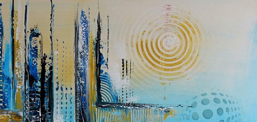 Kiel abstrakte Kunst Wandbild blau  moderne Malerei 116x81