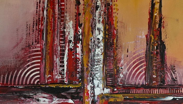 Denver abstrakte Skyline Leinwandbild rot Original Gemälde Acrylbild handgemalt