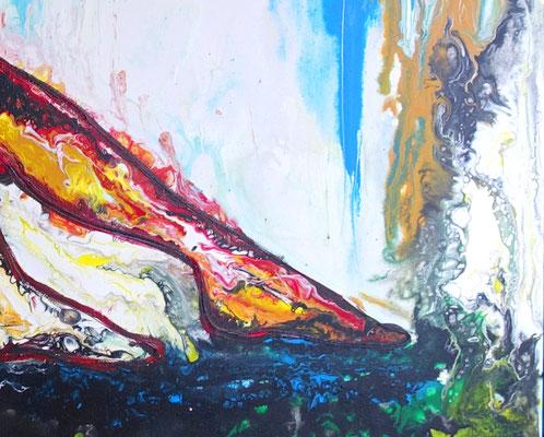 Wandbild Frau Dusche nass - Original Gemälde, erotische Malerei