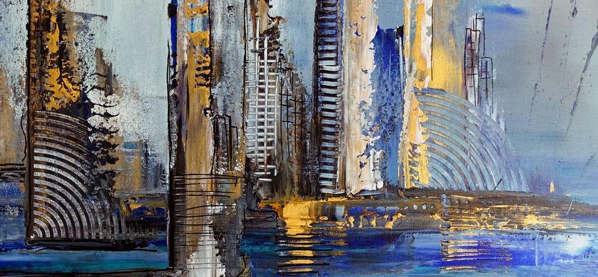 Hafenstadt abstrakte Malerei blau gold Wandbild Acrylbild Künstler Bild