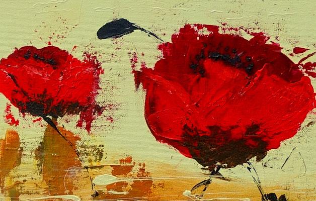 Mohnblumen Wind Küchenbild rot beige handgemaltes Unikat