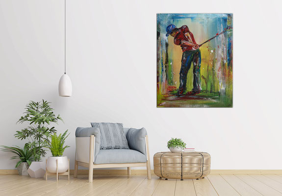 Golfer Abschlag Golfbild Golfspieler Malerei Wandbild Gemälde Unikat Acrylbild Turnierpreise Modern 80x100 21-03-07