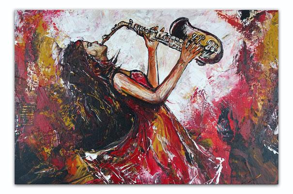 Saxophonistin querformat handgemaltes Musiker Bild Gemälde Saxophon rot grau