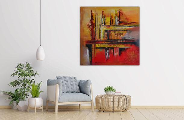 Offspring abstrakte Malerei orange Wandbild Leinwandbild Unikat Kunst