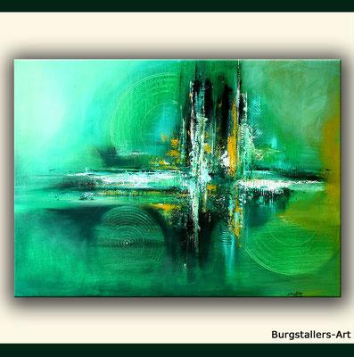 Grüne handgemalte Wandbilder, Leinwandbilder und Keilrahmenbilder - Acrylbilder in grün - grünes Bild kaufen