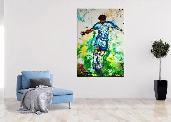 Wandbild Tempodribbling Fußball Malerei Sportbild Kunstbild Gemälde Unikat