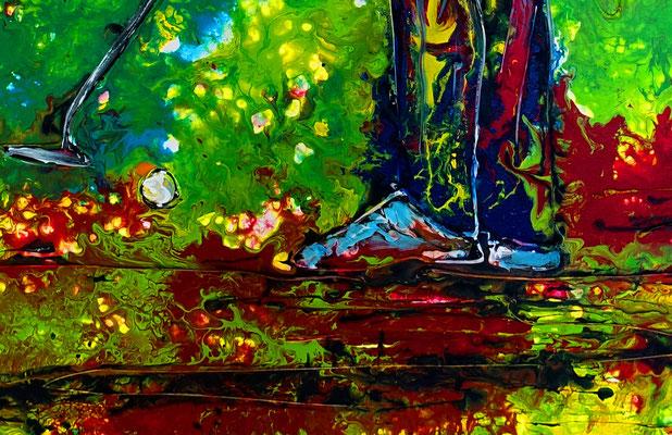Golfer Bild Abschlag Golfbild Golfspieler handgemalt Acrylbild Malerei Gemälde Kunst