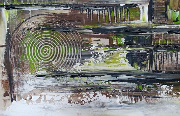 Sturm abstraktes Acrylgemälde Künstler Bild grau grün Unikat
