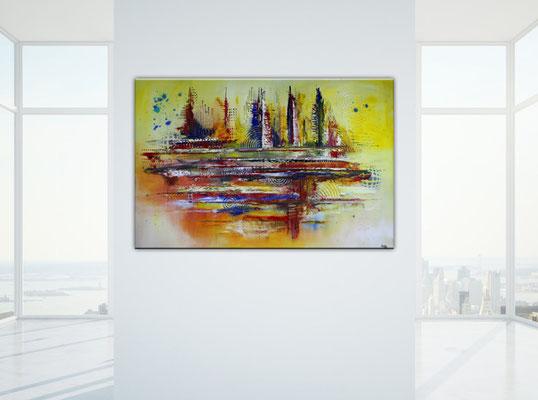 Timbuktu XXL gelb abstrakte kunst malerei bild hadgemalt