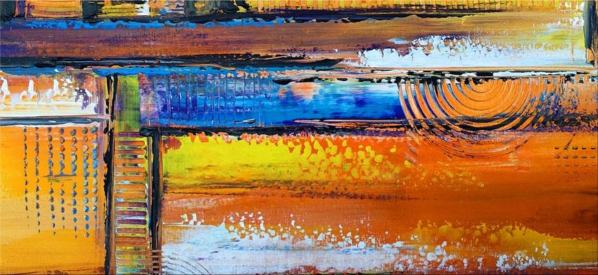 Abstraktes Wandbild XXL zweiteilig orange blau Original Gemälde