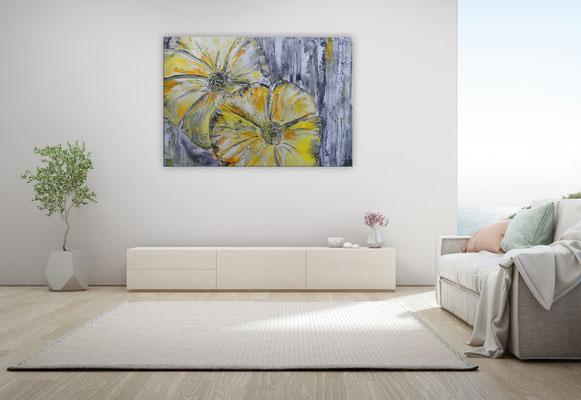 Wandbild Wohnzimmerbild Blumen Blüten gelb grau moderne Blumenmalerei Gemälde handgemalt