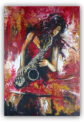 Saxophonistin hochformat modernes Musiker Gemälde Saxophon gemalt Leinwandbild