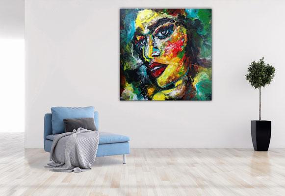 Witch Leinwandbild Gesichter Porträt Malerei Kunst Bilder Menschen Unikat Acryl Gemälde 100x100x2 k