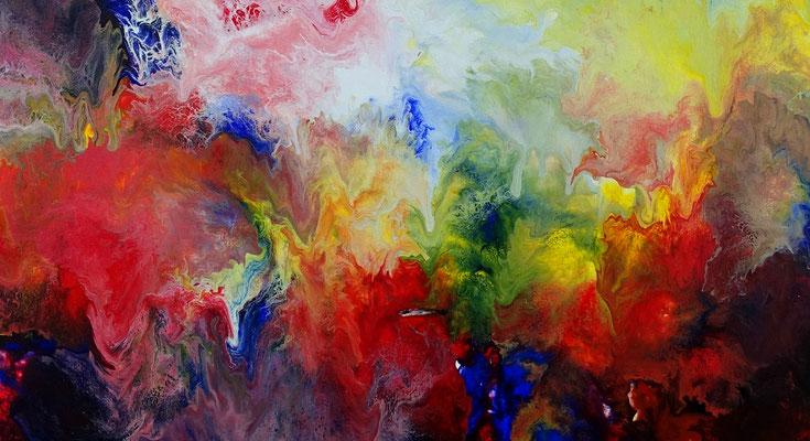 Urknall 21-05 abstraktes Wandbild XXL rot gelb buntes Original Acryl Gemälde