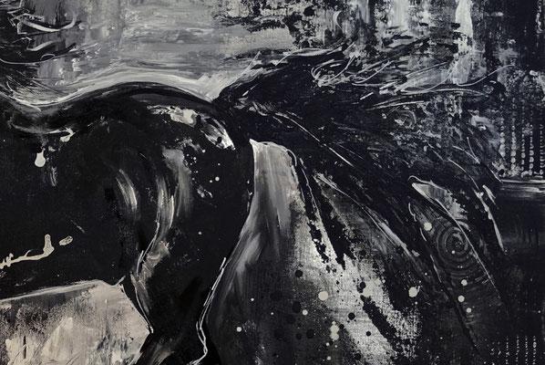 Schwarzer Hengst handgemalt Pferdebild gemalt Malerei Pferde Gemälde