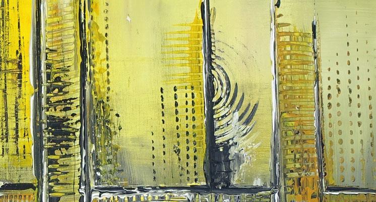 Sonnenstadt kuenstler bilder gemaelde abstrakt gelb grau acrylbilder