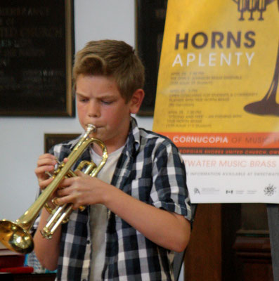 A young open coaching participant impresses True North Brass with his trumpet chops.