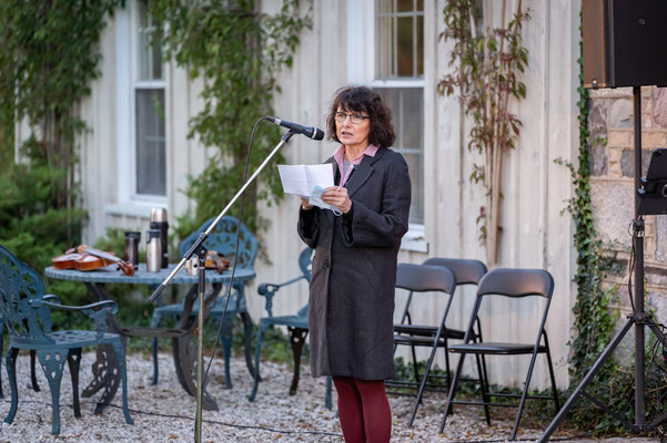 Gail Gallant talks about the unique history of the property during Garden Concert One.