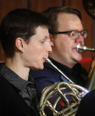 Christine Passmore (French horn) and Ian Feenstra (tuba) in performance with True North Brass during SweetWater's Brass Festival.