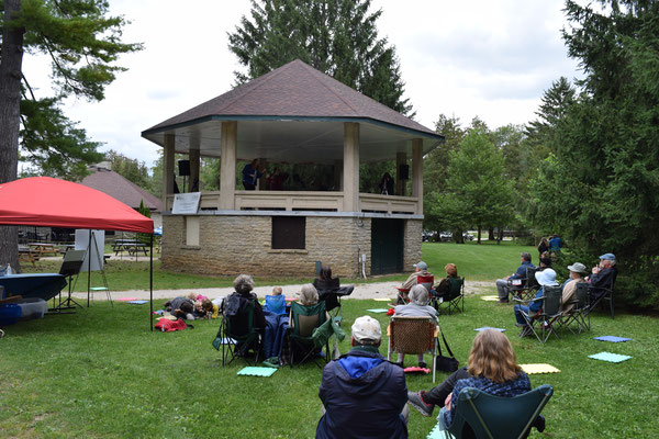 A large turnout for Harrison Park Pop-Up on Saturday afternoon. Photo by Paul Eichhorn