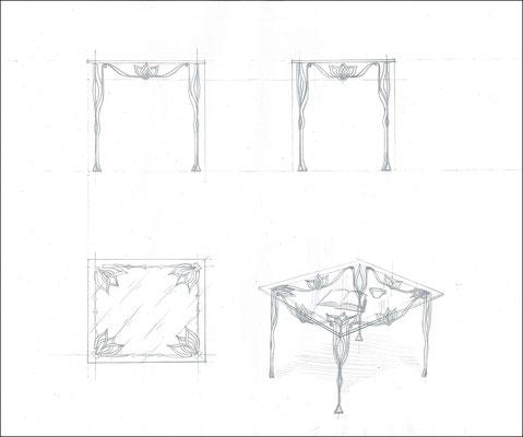 """Стол обеденный прямоугольный """"Лотос. Малый"""". Стеклянная столешница с кованым подстольем ручной работы. Размеры 800x700."""