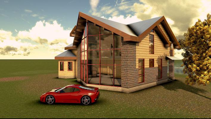 Частный дом с панорамным остеклением. Слияние традиций с веяниями современной архитектуры.