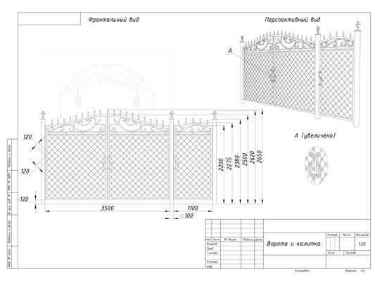 Проект кованых ворот. Часовня. СПБ.