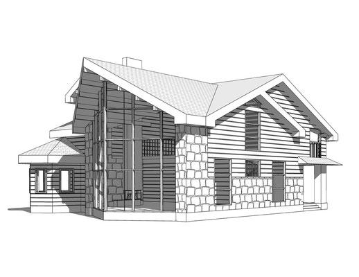 Схематичная объемнопространственная схема дома