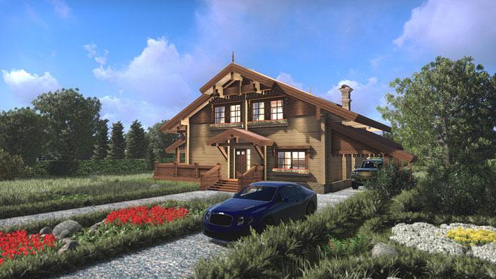 Дом из бруса визуализация