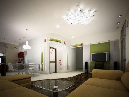 КУХНЯ- ГОСТИНАЯ. Дизайн проект квартиры.