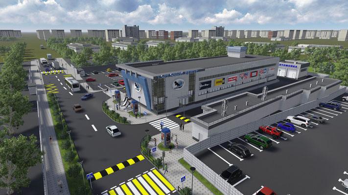 Перспективный вид торгового центра на заказ