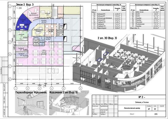 План второго этажа. Аксонометрия 2 этажа. Проект ЛОГИСТИЧЕСКОГО ЦЕНТРА в Таллине.