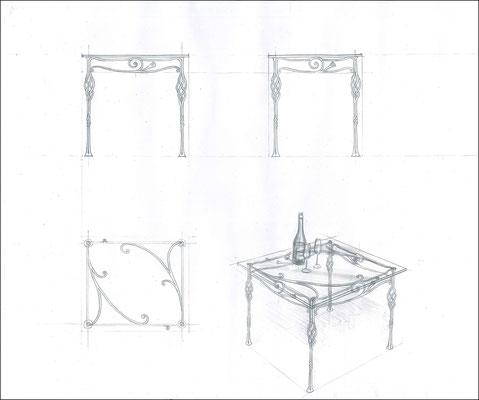 """Стол обеденный прямоугольный """"Увертюра. Малый"""". Стеклянная столешница с кованым подстольем ручной работы. Размеры 800x700."""