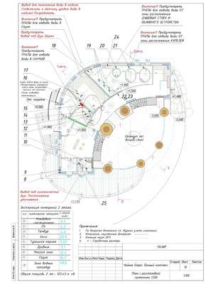 12. План с расстановкой сантехнического оборудования. Отм. пола 1.500 м