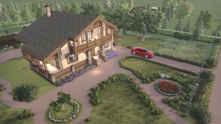 Успешный проект дома в красочных эскизах