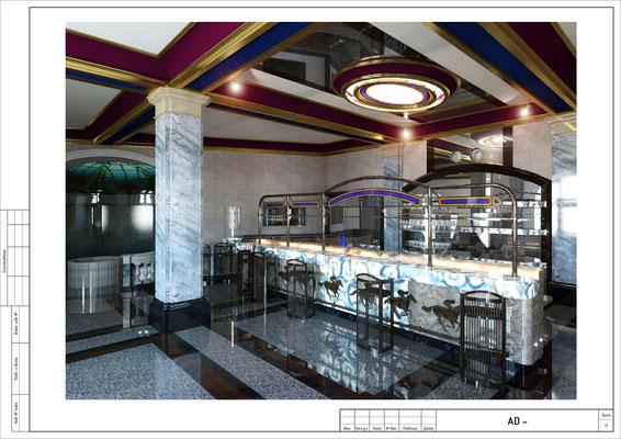 ВИЗУАЛИЗАЦИЯ. РАКУРС 1. Бар в отеле. Дизайн проект.