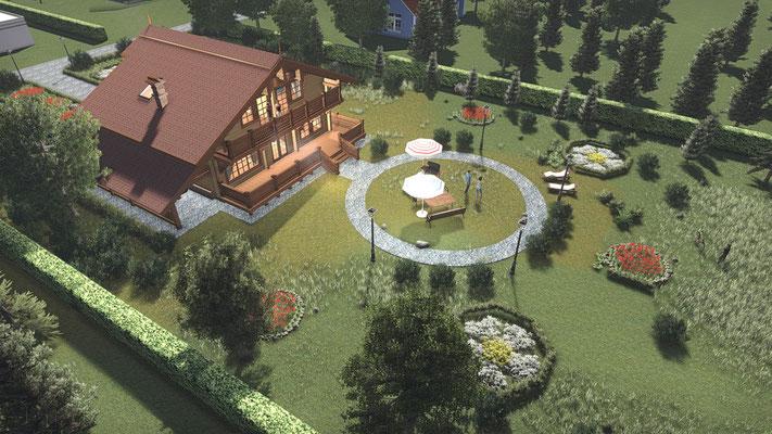 Проект дома в перспективе