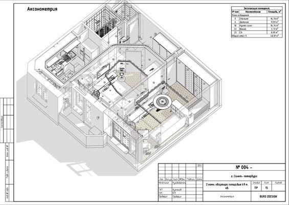 АКСОНОМЕТРИЯ. Двухкомнатная квартира. Дизайн проект.